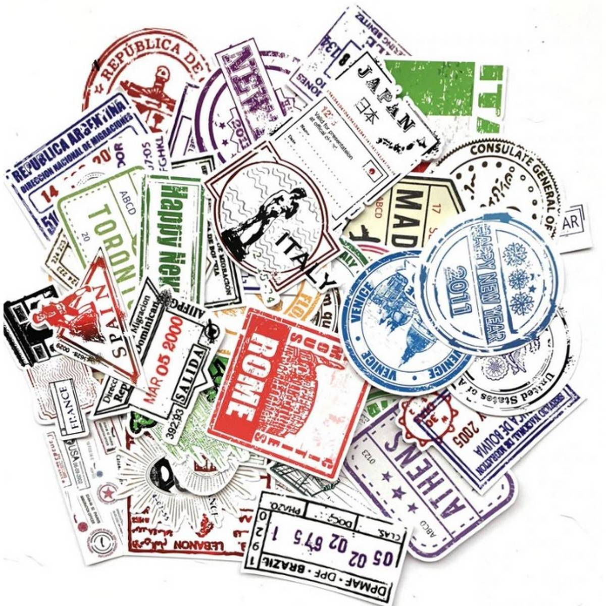 10 Pcs/Pack Retro Traveling,Boarding Pass, Air Tickets, Creative Water-Proof Stickers For Laptop,Luggage Bags,Bike,Phone,Car