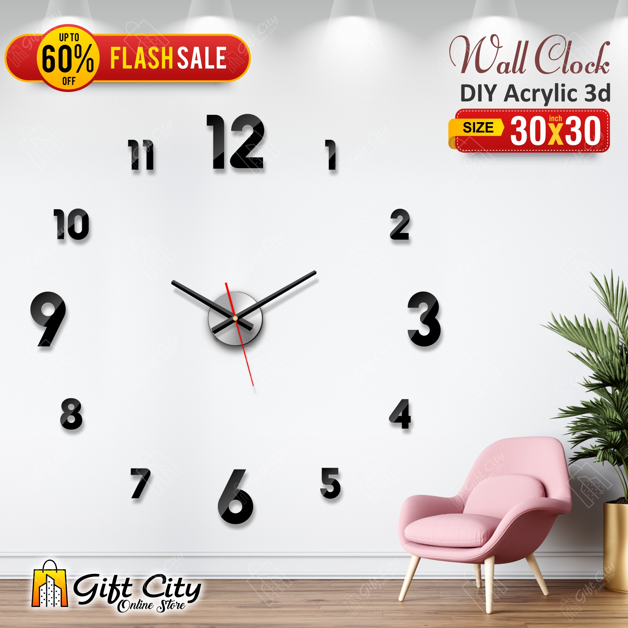 New Acrylic Letters Wall Clock, Creative Wall clock for Home and Offices, 3D Design Self Adhesive - GIFT City