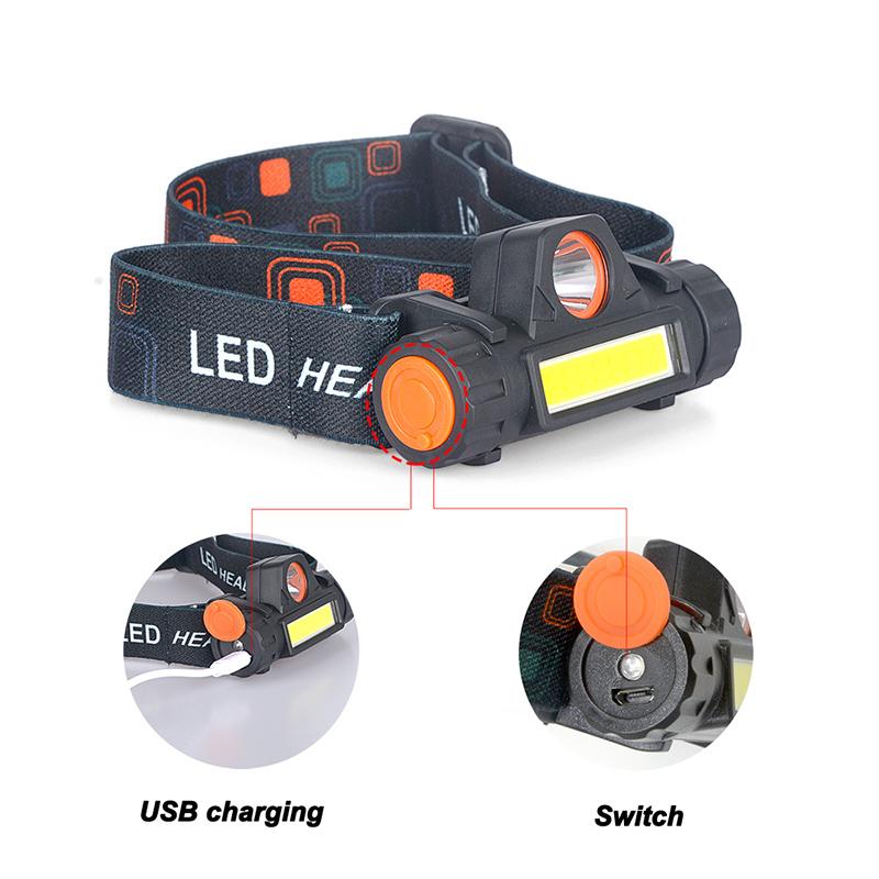 Portable mini High Power LED Headlamp Built-in Battery T6+COB USB Rechargeable Headlight Waterproof Head Torch Head Lamp