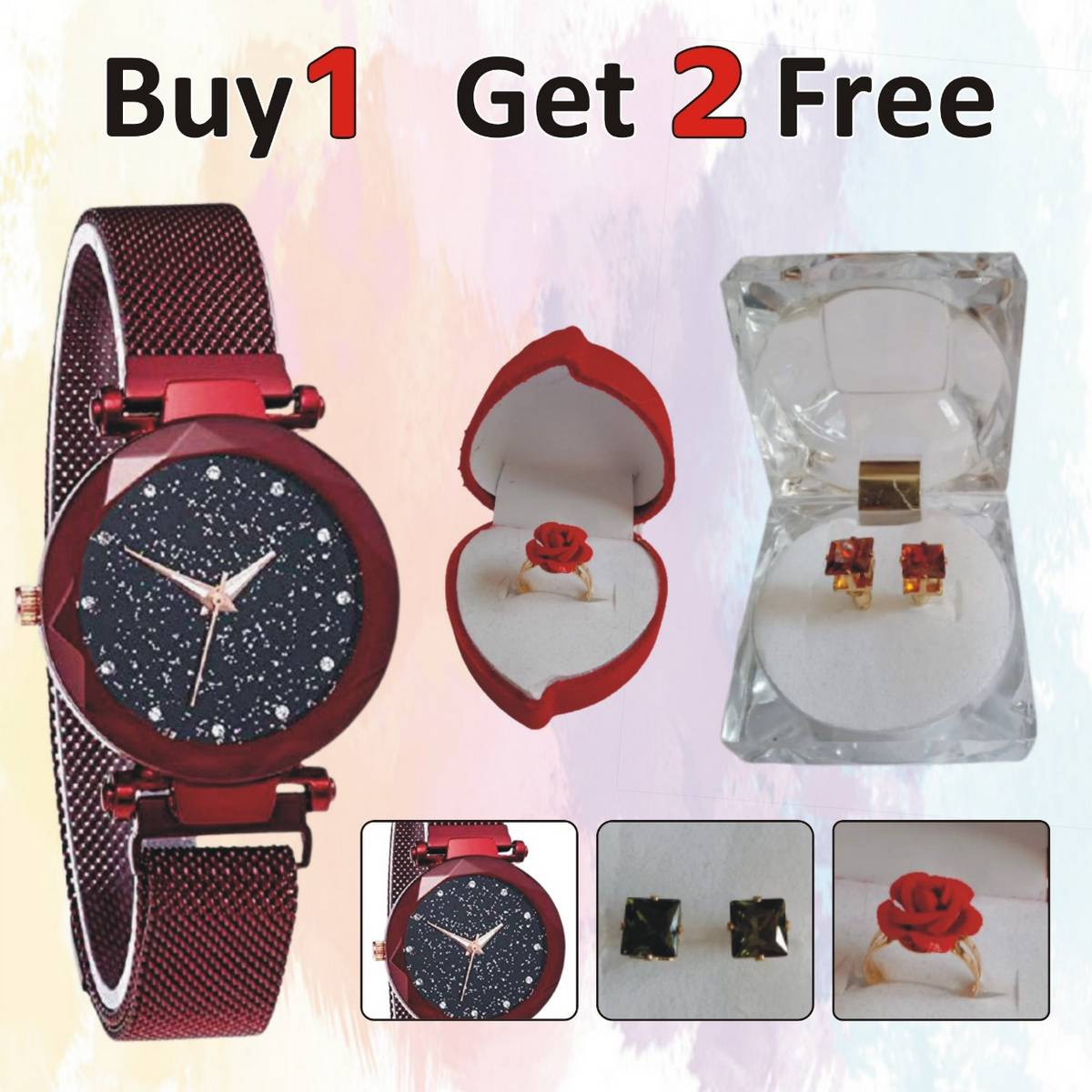 Pack of 3 Gifts, Female Magnet Mesh Luxury Watch + Rose Ring + 1 Pair of Earrings / Studs, Suitable for Eid Gift, Birthday, Engagement, Wedding, Graduation, Valentine etc