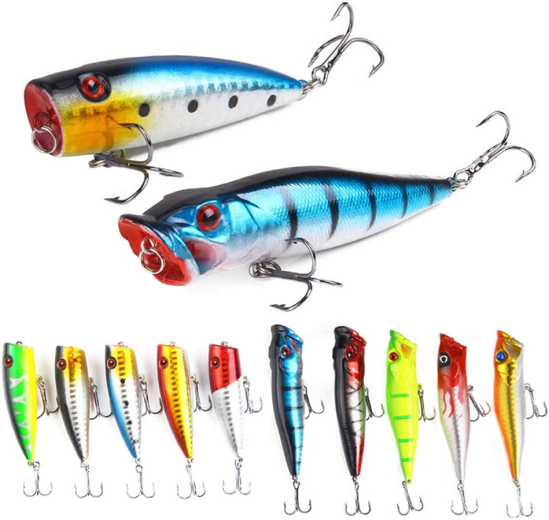 1 Pcs Fish Hooks top Water bass Fishing Lures Plastic Popper Lure Bait