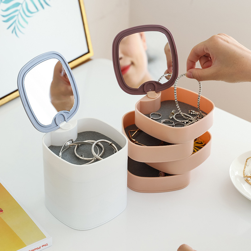 Rotatable Jewelry Box, 4-Layer Jewelry Organizer with Built-in Mirror, 360-Degree Rotatable Jewelry Case for Women Girls, Jewelry Storage for Earrings, Necklaces, Rings, Bracelets