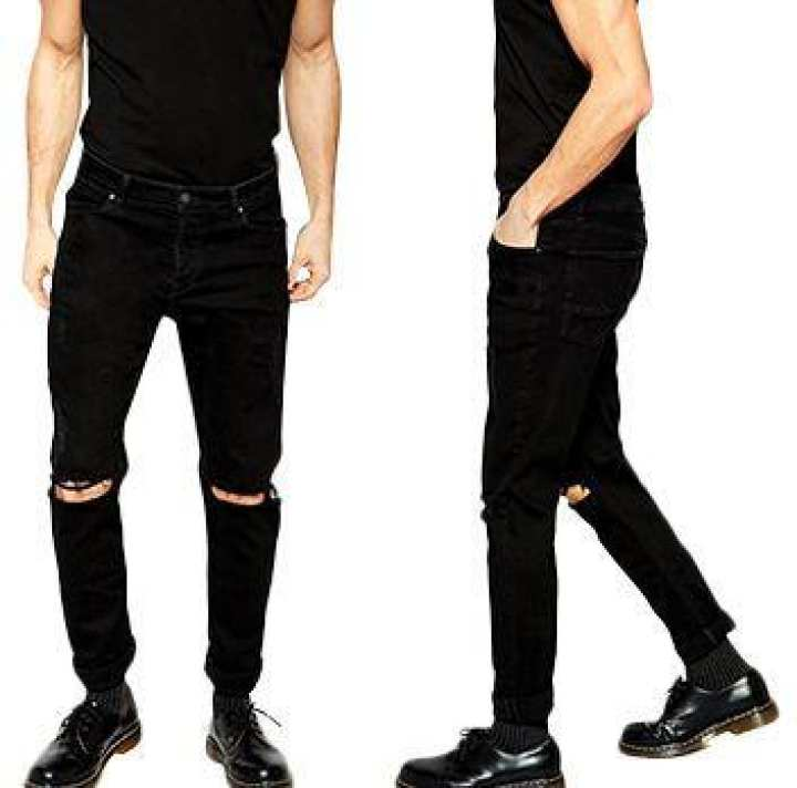 Stylish Black And Blue Ribbed Mens Jeans
