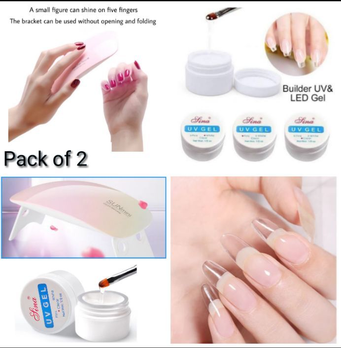 Mini Portable LED UV 6W Lamp Nail Dryer USB Cable included Nail Art UV Nail Extension Builder Gel (Pack of 2)
