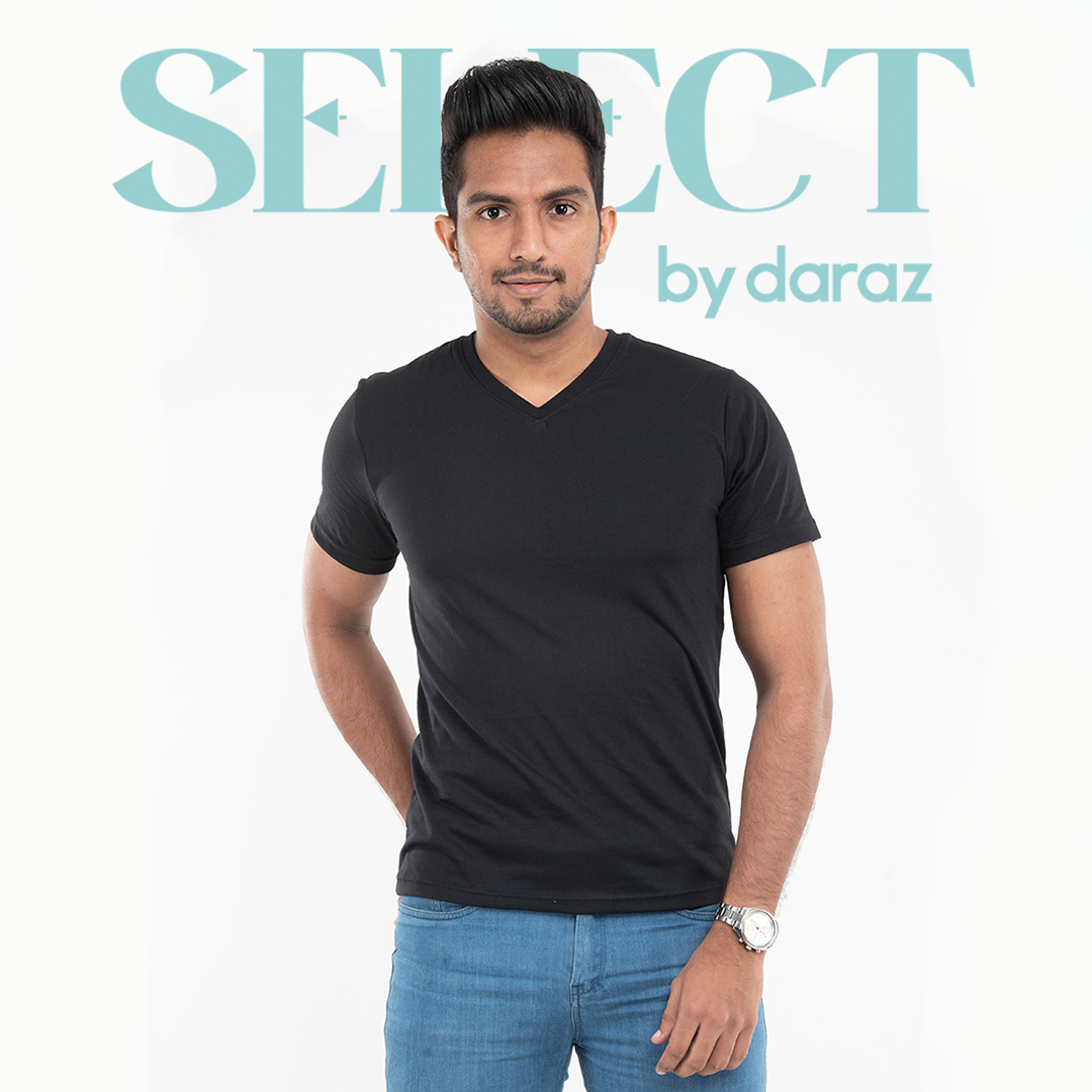 Select by  Basic V Neck T-Shirt For Men - Black