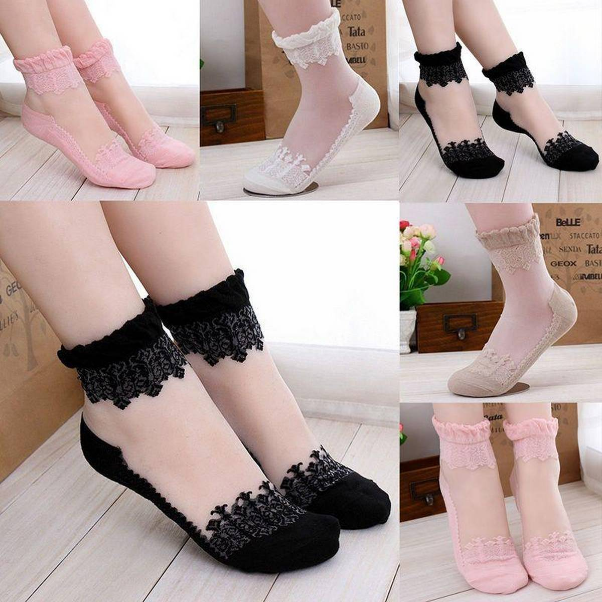 4pair 4colour Customized New Thin Transparent Beautiful Lace Boot Socks , Fancy Lace Socks
