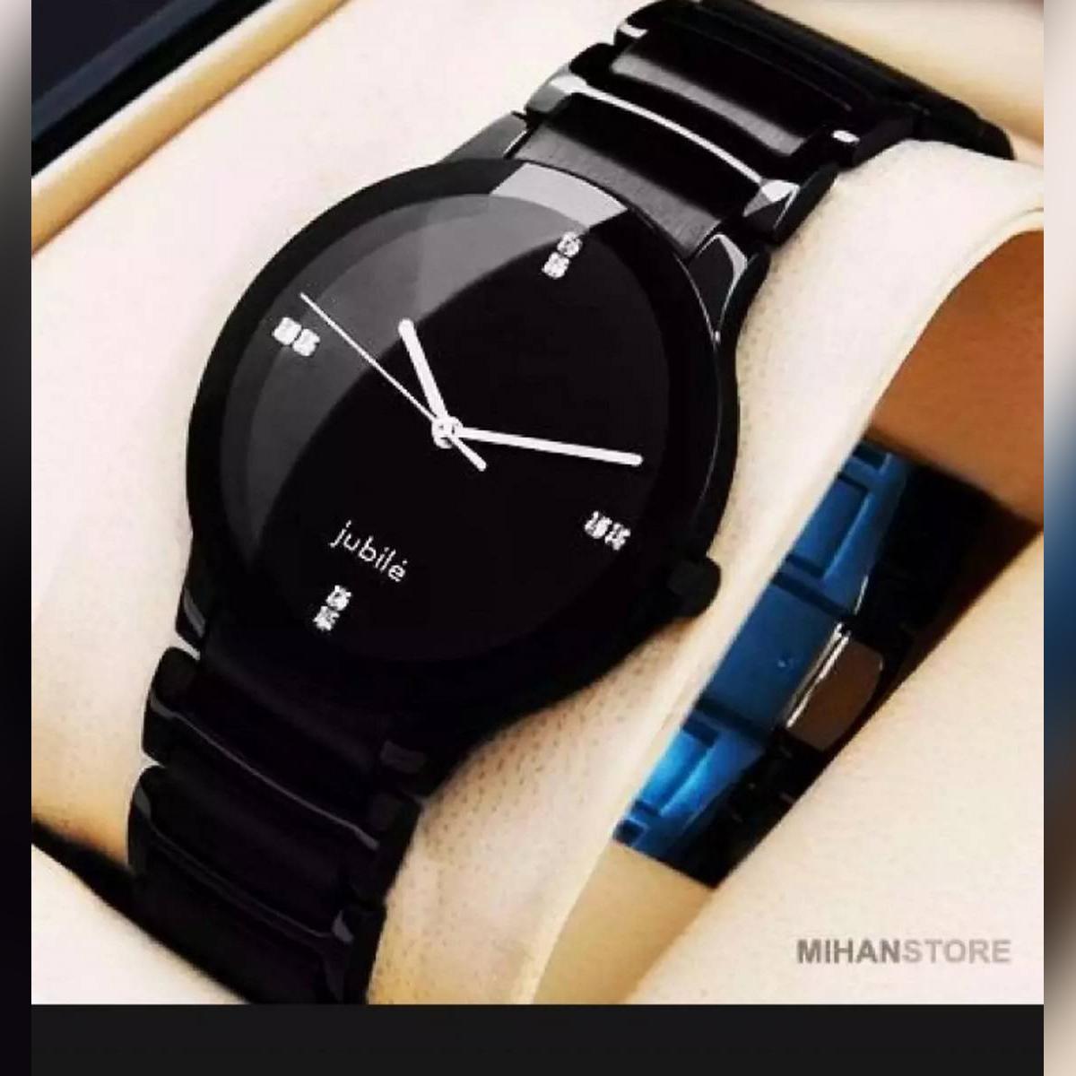 Stylish Handsome Black Chain Watch