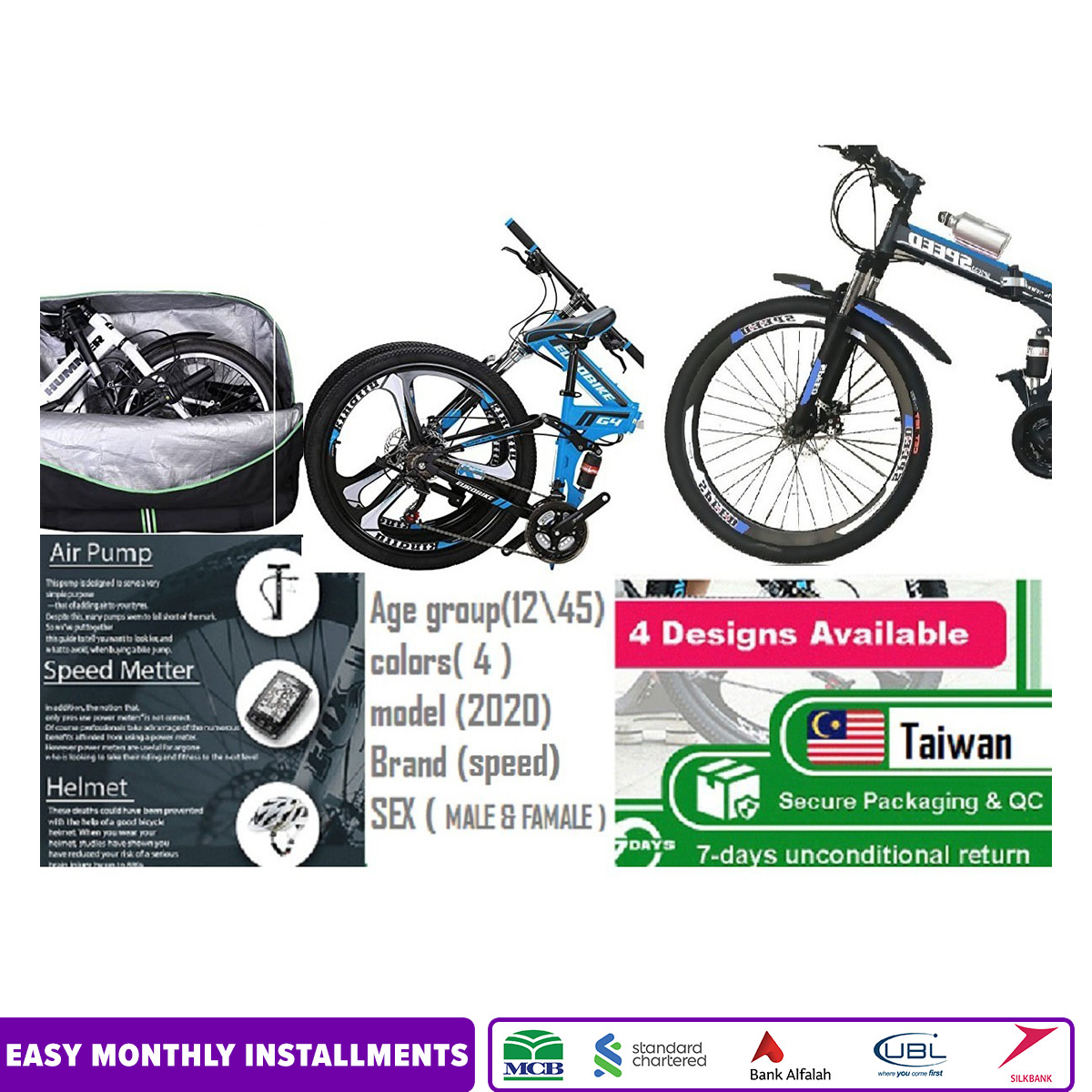 Speed Bicycle 26 Inches Folding Bike Dual Shake with Lock System Alloy RIm Bearing System
