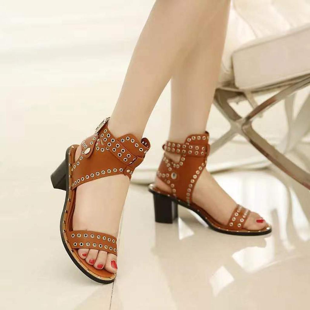 1e9e20492289 Womens Fashion Flats Open Toe Rivets Beach Shoes Post High Heels Roman  Sandals