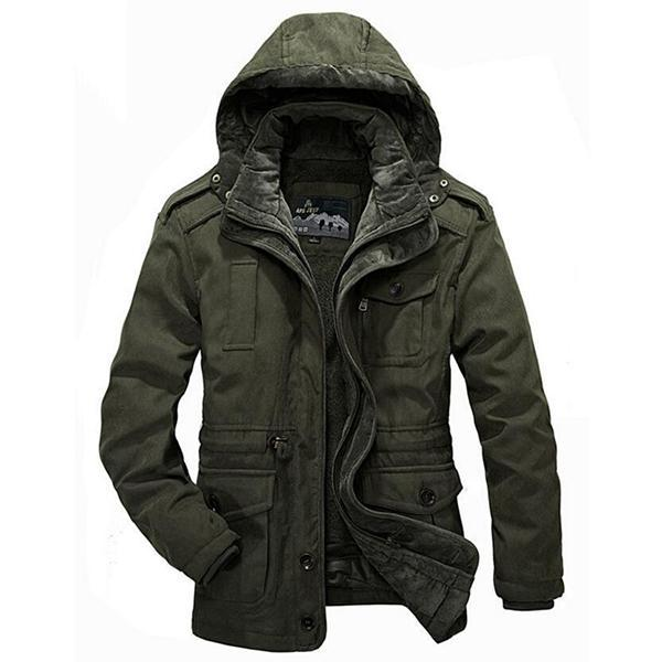 7e6158f43 AFS JEEP Plus Size Two Pieces Lambswool Liner Outdoor Casual Thicken Warm  Jackets for Men Army