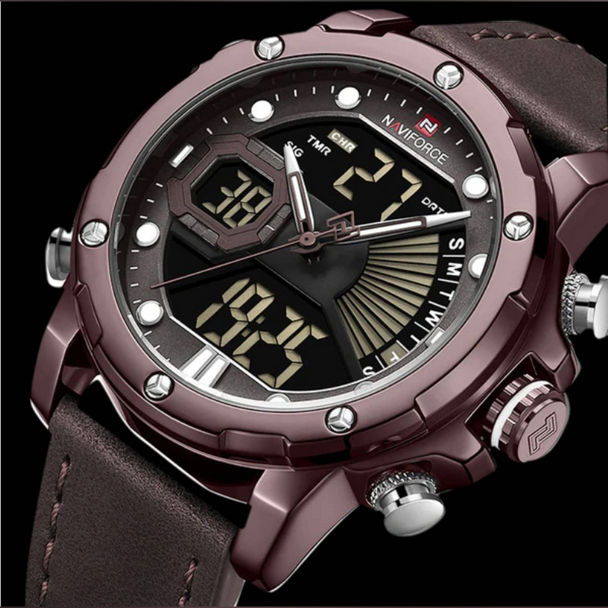 Naviforce Dual Display Japan Quartz Wrist Watch With Brand Box - NF9172L