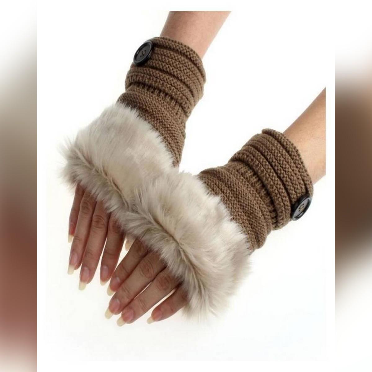 Finger less Fur Mittens Gloves for Women - Light Brown