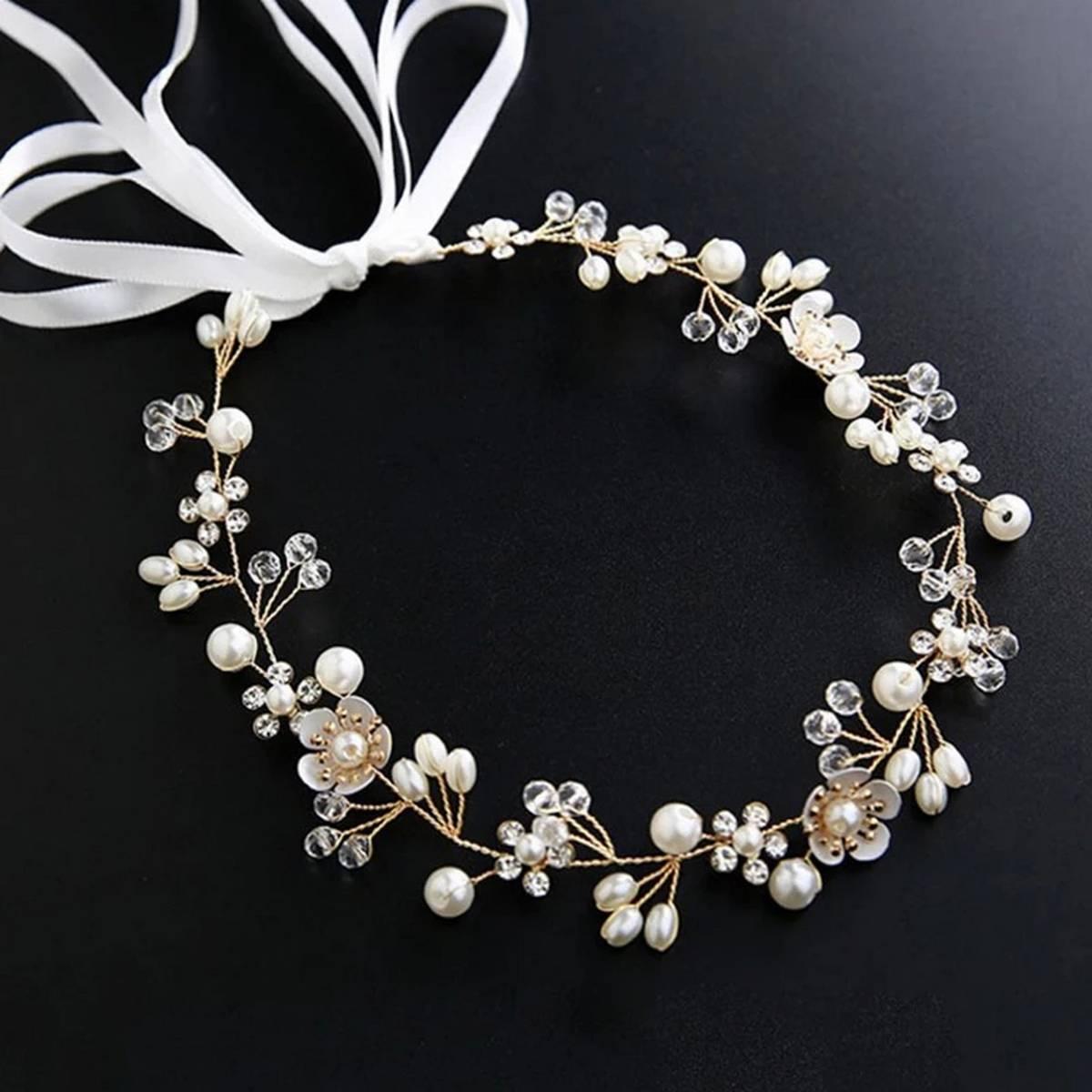 Headbands Bride Headpiece Tiaras Fashion Hair Jewelry Crystal Pearl Flower Bridal Wedding Hair Accessories For Women