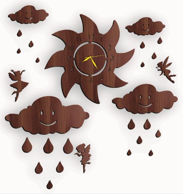 Best Quality Fairy Wooden Wall Clock with Clouds & Rain Drops & Sun Girls Room 3D Laser Cut New Design Wall Clock