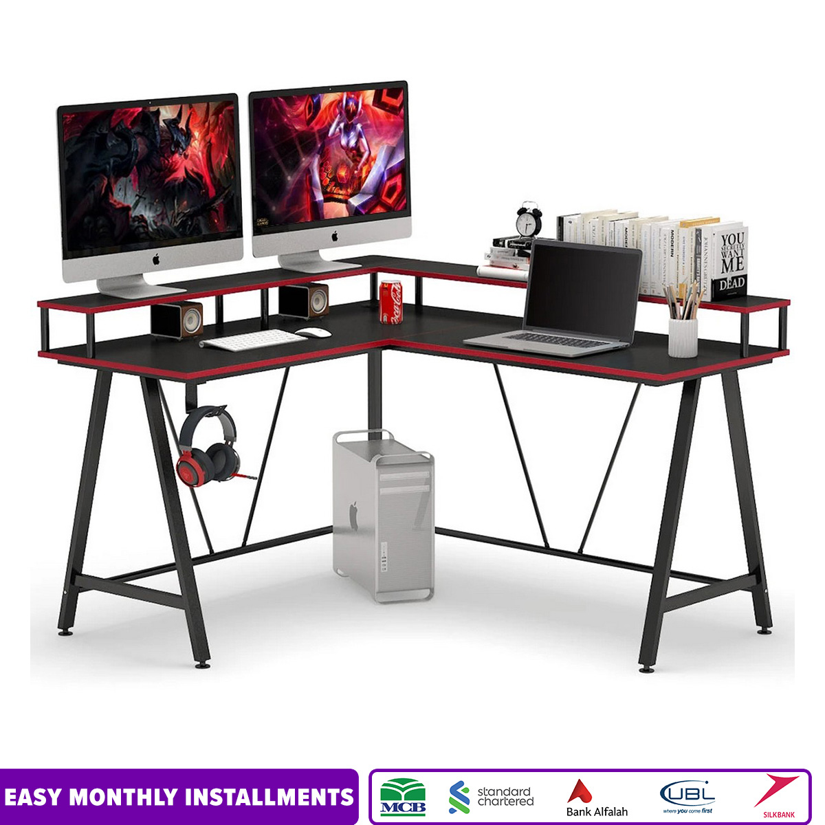 L-Shaped Desk with Shelf, Corner Computer Gaming Desk with Monitor Stand for Home Office and Gamer, Large PC Laptop Study Writing Table Workstation