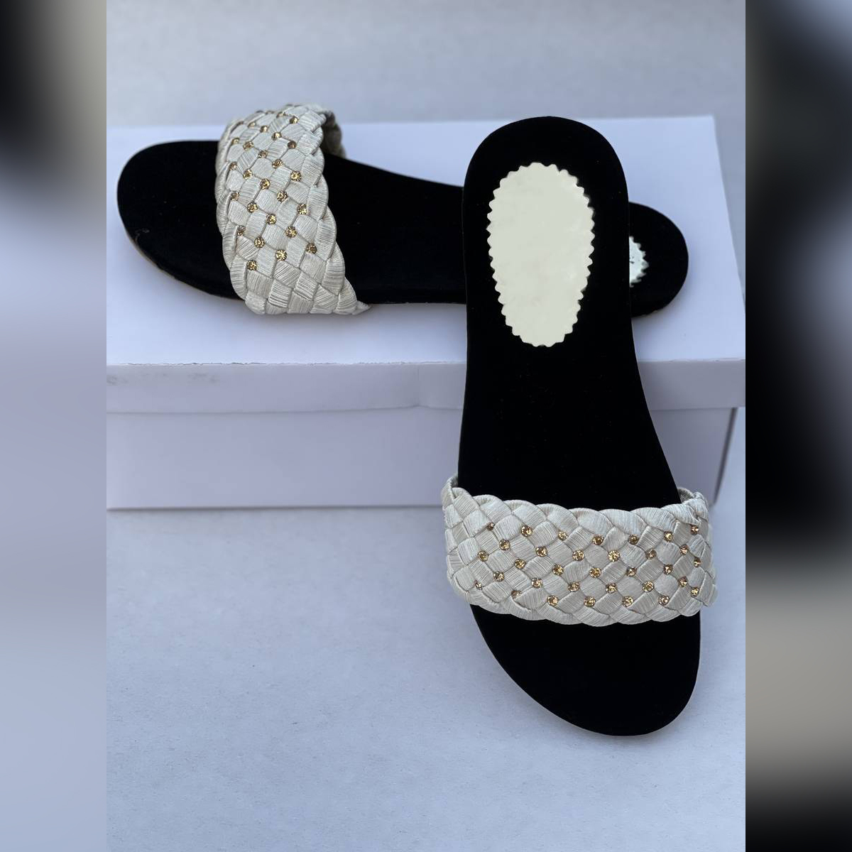 Casual Slipper for Women White Color Black   Chappal   Sandal  