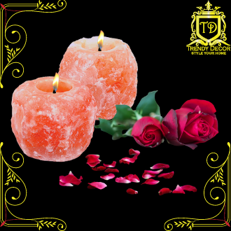 Trendy Decor High Quality Natural Shape Himalayan Salt Tea Light Candle Holder for Gift, Home, Wedding and Romantic Decoration