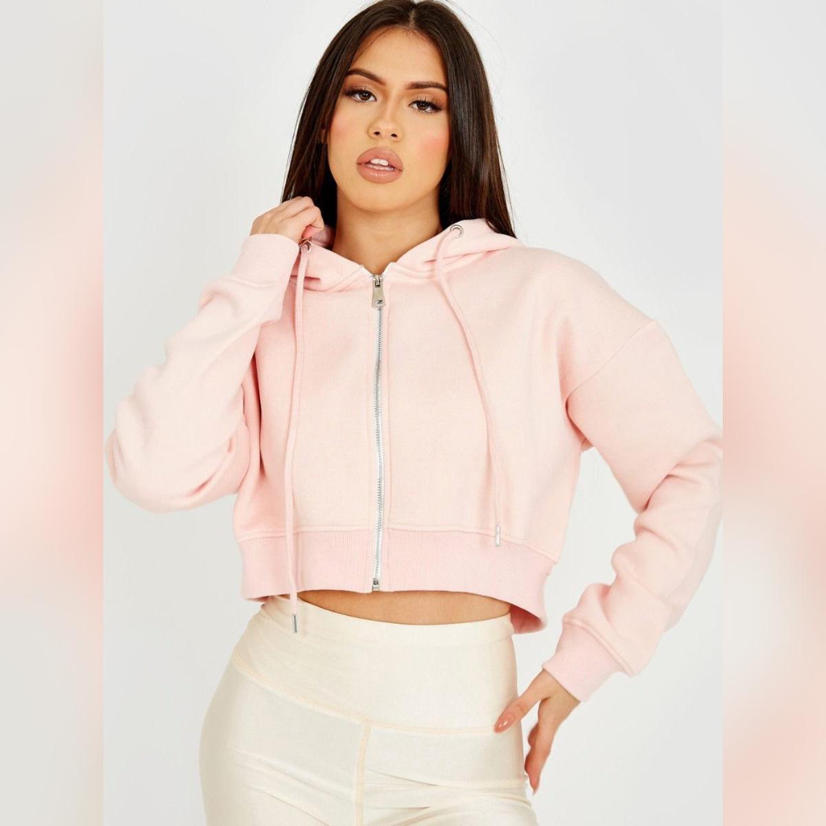 Stylish Crop Zipper Fleece Hoodie For Women & Girls in Pink