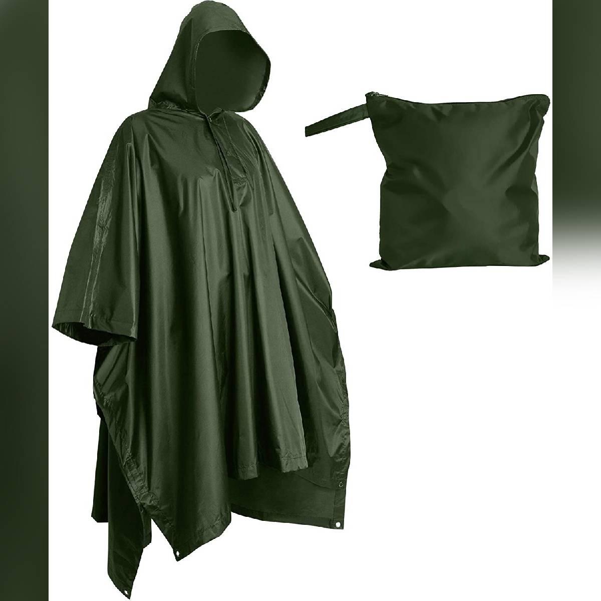 Multi-use Rain Poncho Raincoat Women Reusable Rain Coat Military Rain Jacket Packable Rainwear