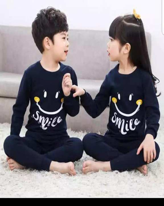 Baba Navy Blue Smile Print Night Suit