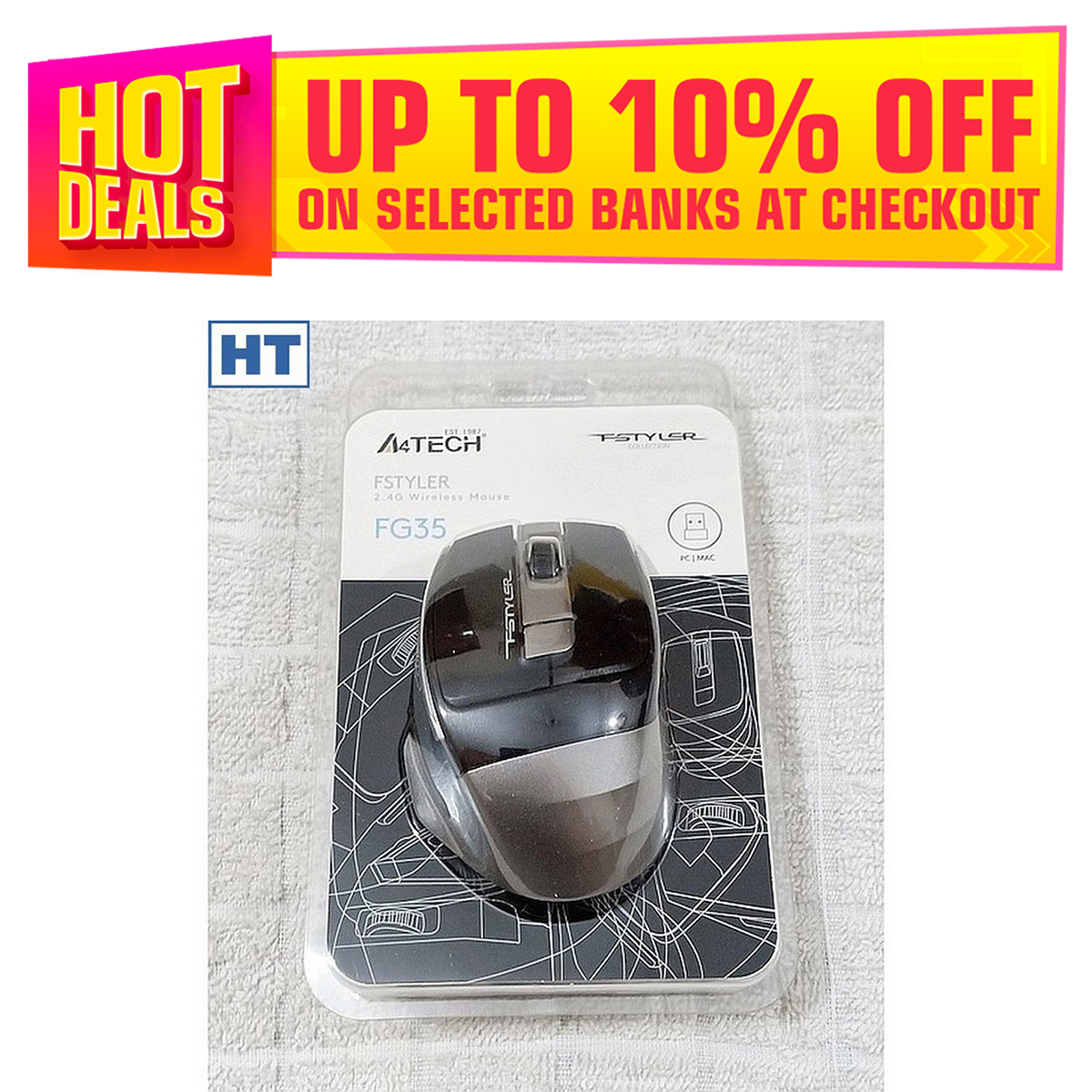 A4Tech Fstyler Wireless Mouse FG35 - 6 Buttons - 2000 dpi - Beautiful (Grey/Silver) - High Quality - Original with S/N
