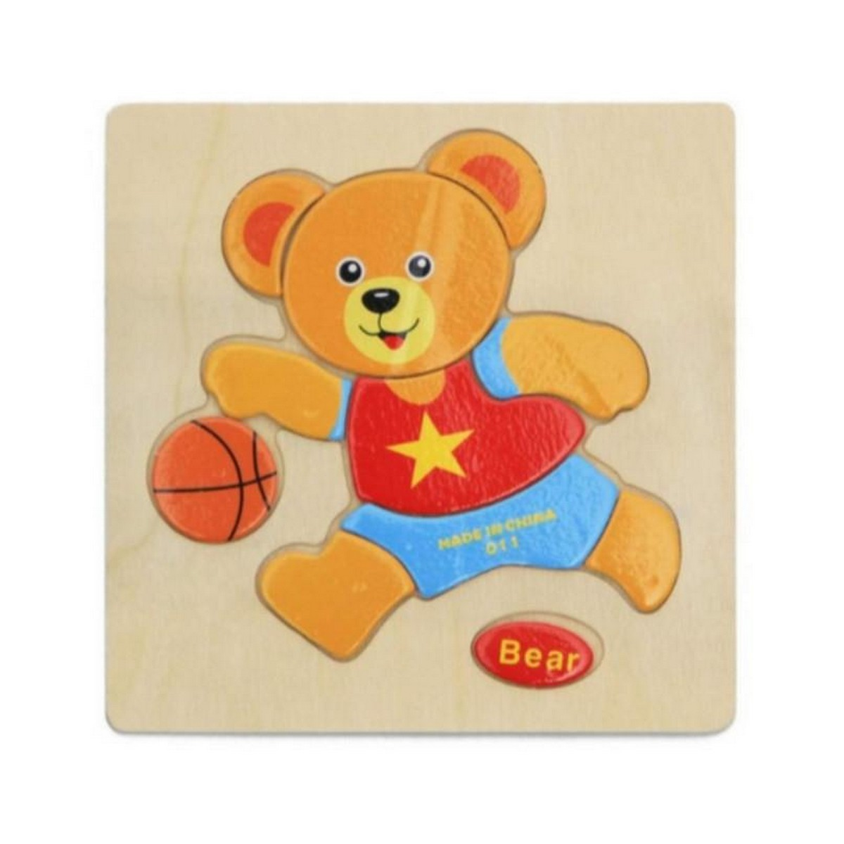 Wooden Bear Puzzle Kids Educational Toys Multicolor