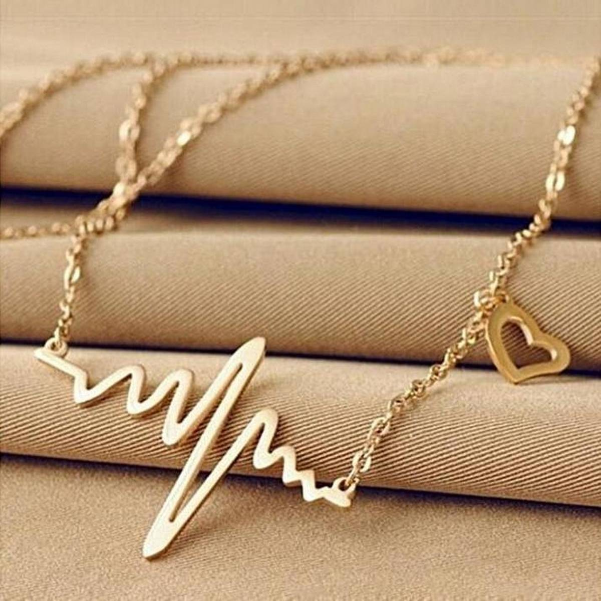 Golden Metal Ecg Heart Beat Wave Necklace Pendant For Women