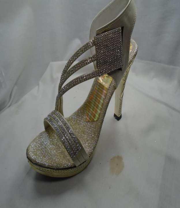 Golden Color Synthetic Fancy Heels  Strppy Sandal For Women - 411-51161