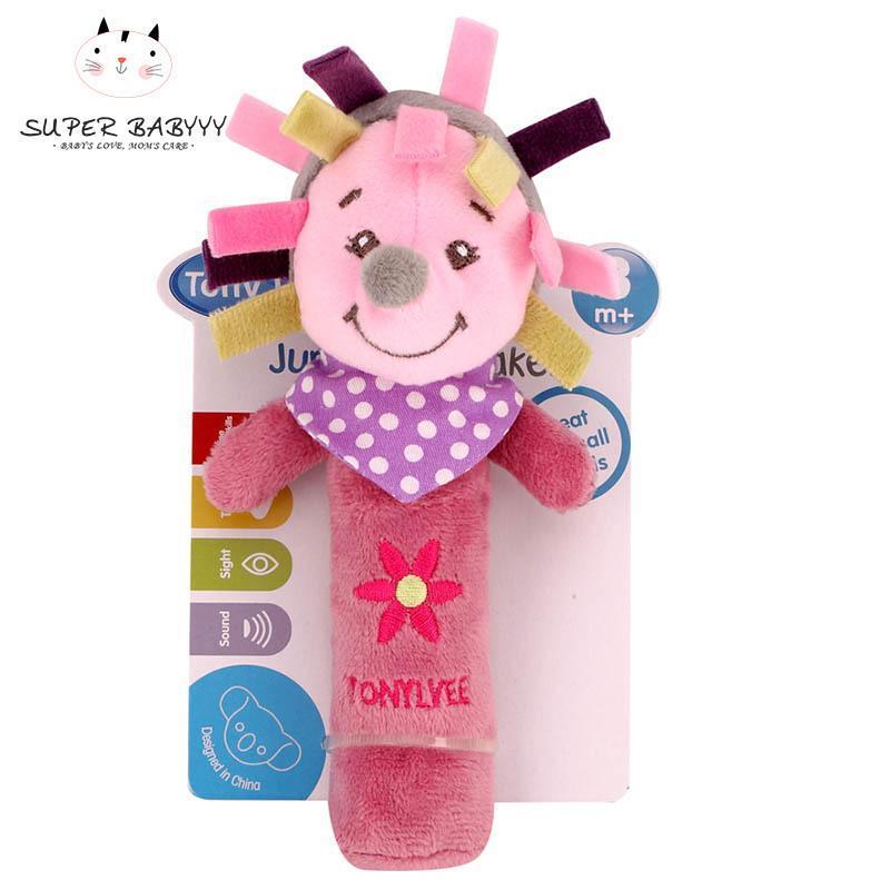 Soft Cartoon Animal Plush Rattles Hand Grasp Squeeze Toy Baby Developmental Toys