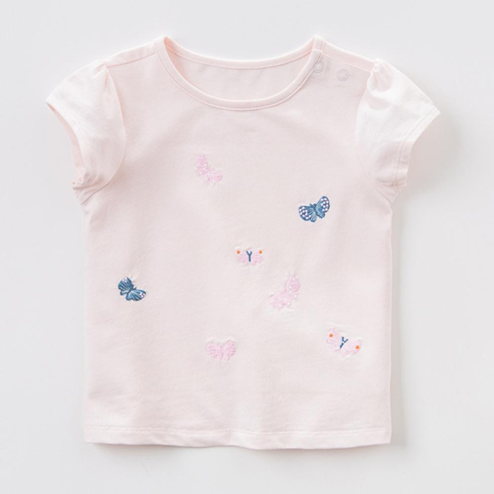 aba08f1e8a95e Product details of Basic T-shirt Butterfly Embroidery Girls Kids Short  Sleeve O-Neck Tops