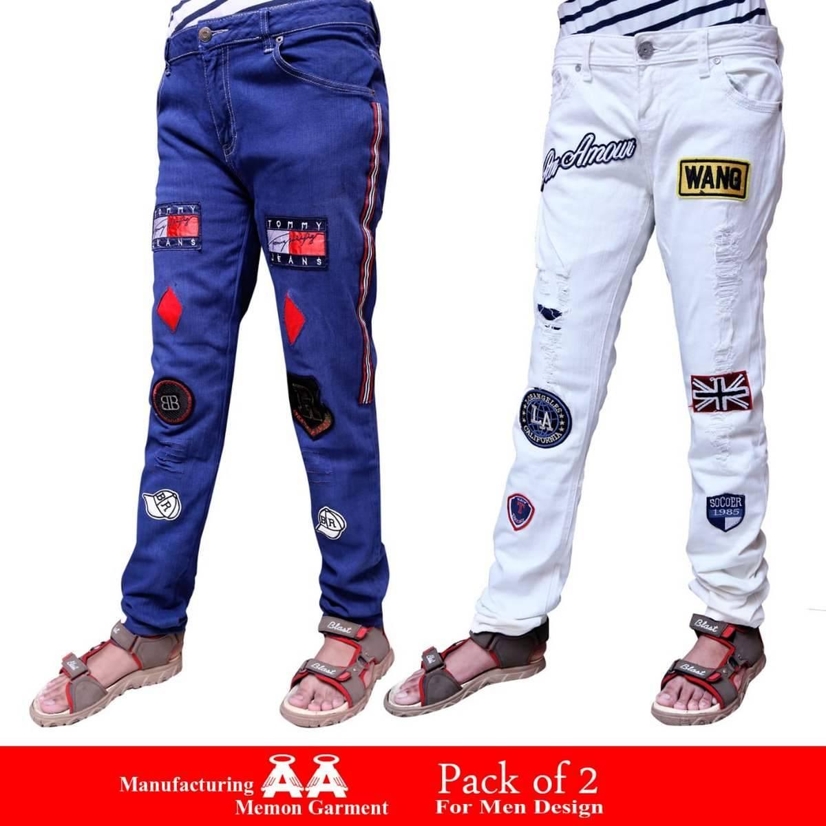 pak of 2 Blue & White Fashion & Stylish Jeans For Men No Ratings