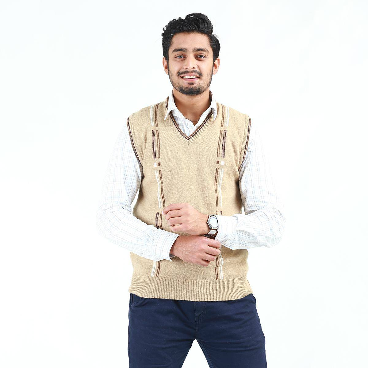 Oxford Lambswool Sleeveless Sweater For Men