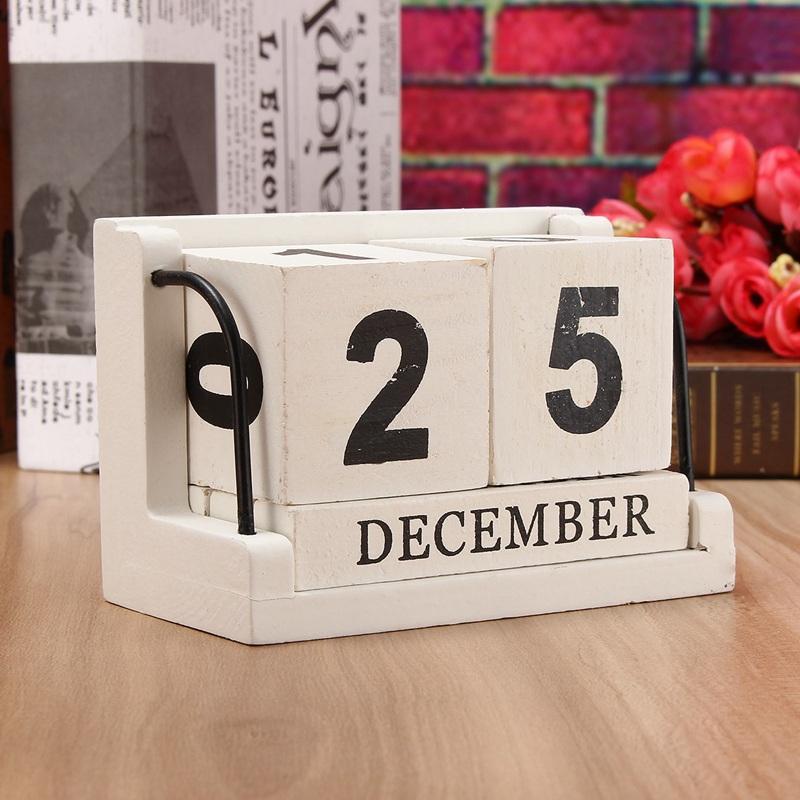 The Old Tree Vintage Mediterranean Style Wood Perpetual Calendar DIY  Calendar Art Crafts Home Office School Desk Decoration Gifts