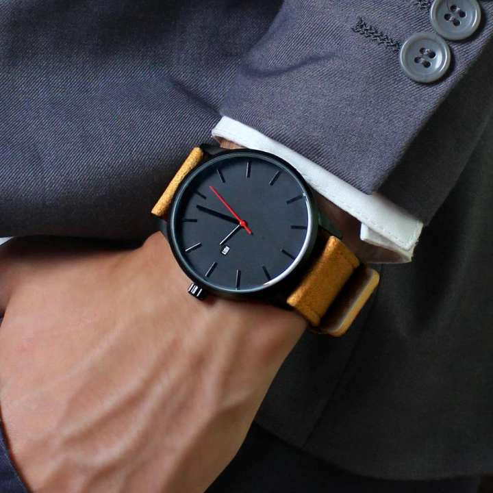 Simple Clock Style Male Leather Wristwatch