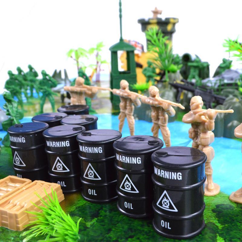 130 Pcs Plastic Military Model Toy Mini Soldier Army Men Figures Accessories Set