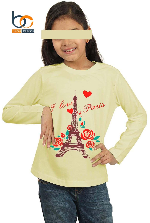 Bindas Collection Paris Printed Full Sleeves Cotton Jersey T-shirt For Girls