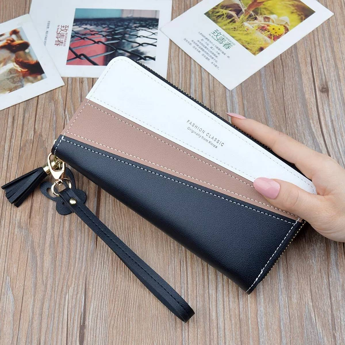 New lady hand bag purse female long bump stitching zipper tassel high-capacity wallet for mobile phone Clutch for girls and women