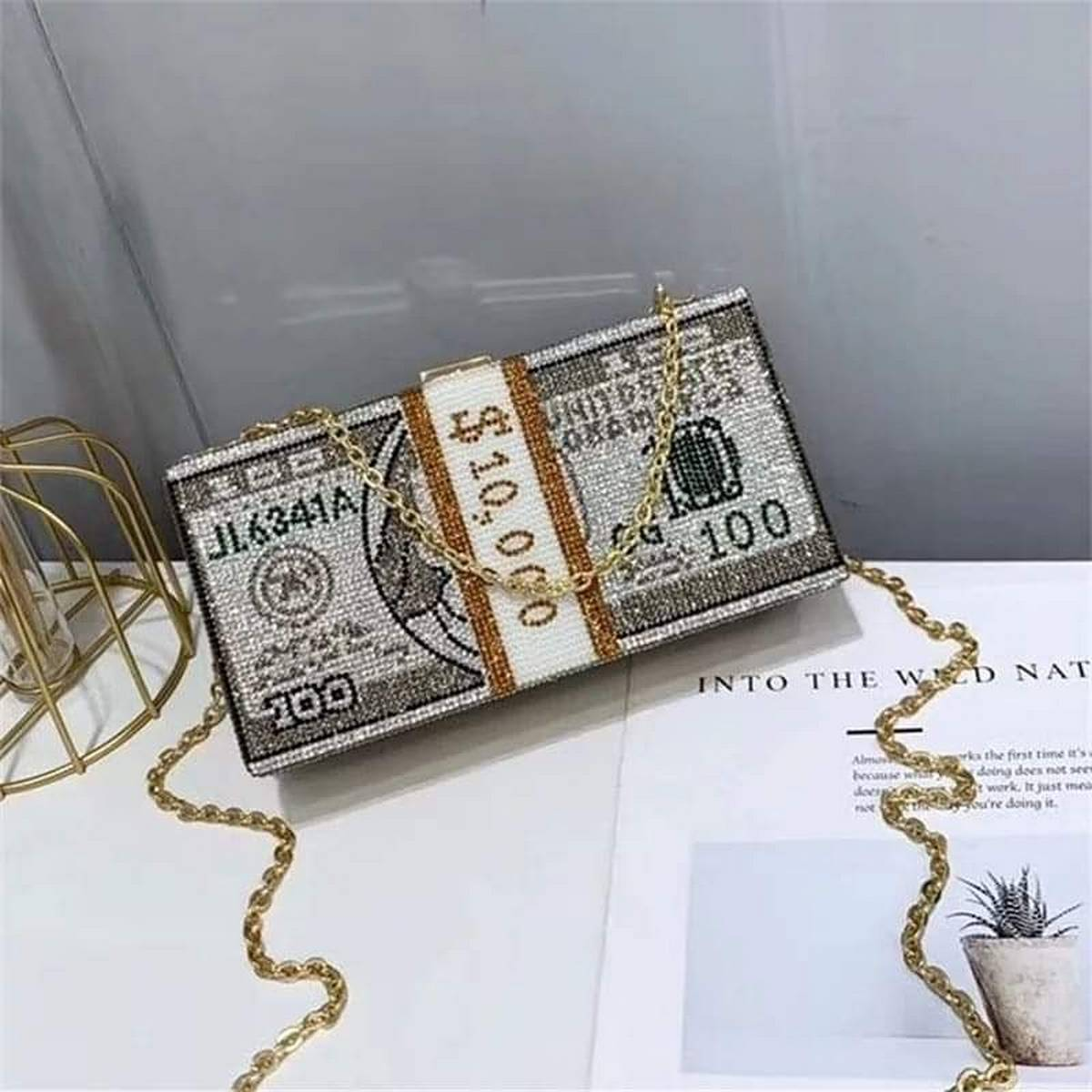 Stack of Cash Dollars bag for women 2020 new Crystal diamond chain Evening Bags money Clutch bag luxury Purses and Handbags