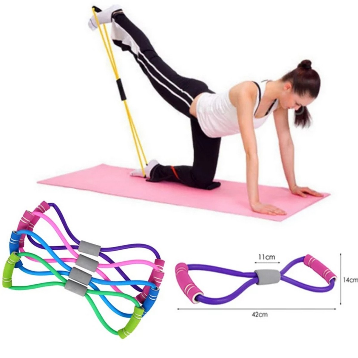 2020 Hot Yoga Gum Fitness Resistance 8 Word Chest Expander Rope Workout Muscle Fitness Rubber Elastic Bands for Sports Exercise
