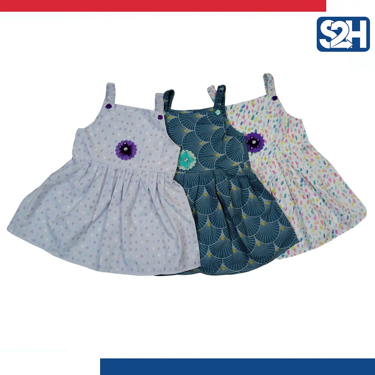 Pack Of 3 - Cotton Printed Summer Baby Frocks - Multicolor