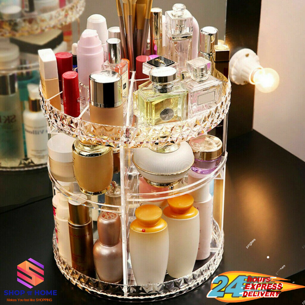 360 Rotating Makeup Organizer with Brush Holders, 6 Adjustable Clear Larger Capacity Cosmetics Organizer Storage Box Fits Makeup Lipsticks Brushes, Jewelry Toiletry Bathroom