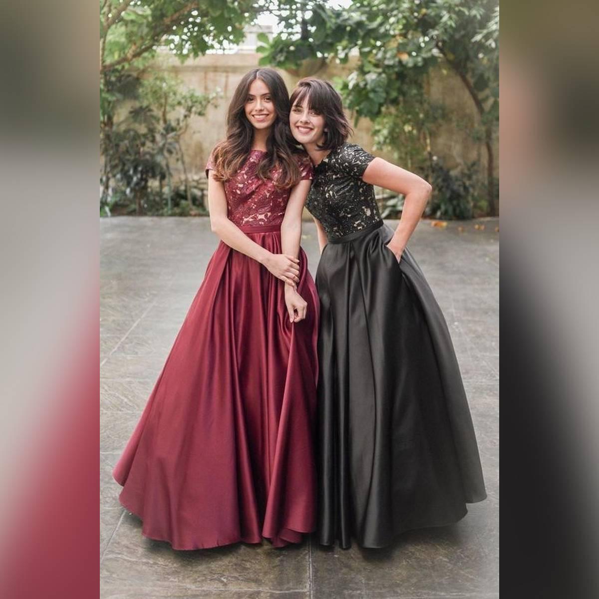 Pack of 2 Black & Maroon Satin Long Skirt for Women