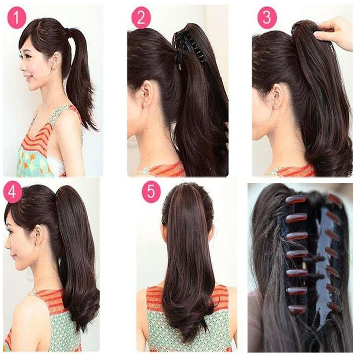 Curly Clip On Ponytail Long Life Hair Extension - Natural Brown