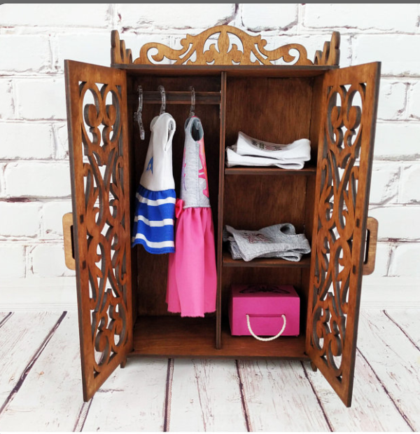 Wooden Cupboard /Almari for Doll-10 inch Long- /Toy for kids / Cupboard with cabinet and hangers for dolls /wall hanging