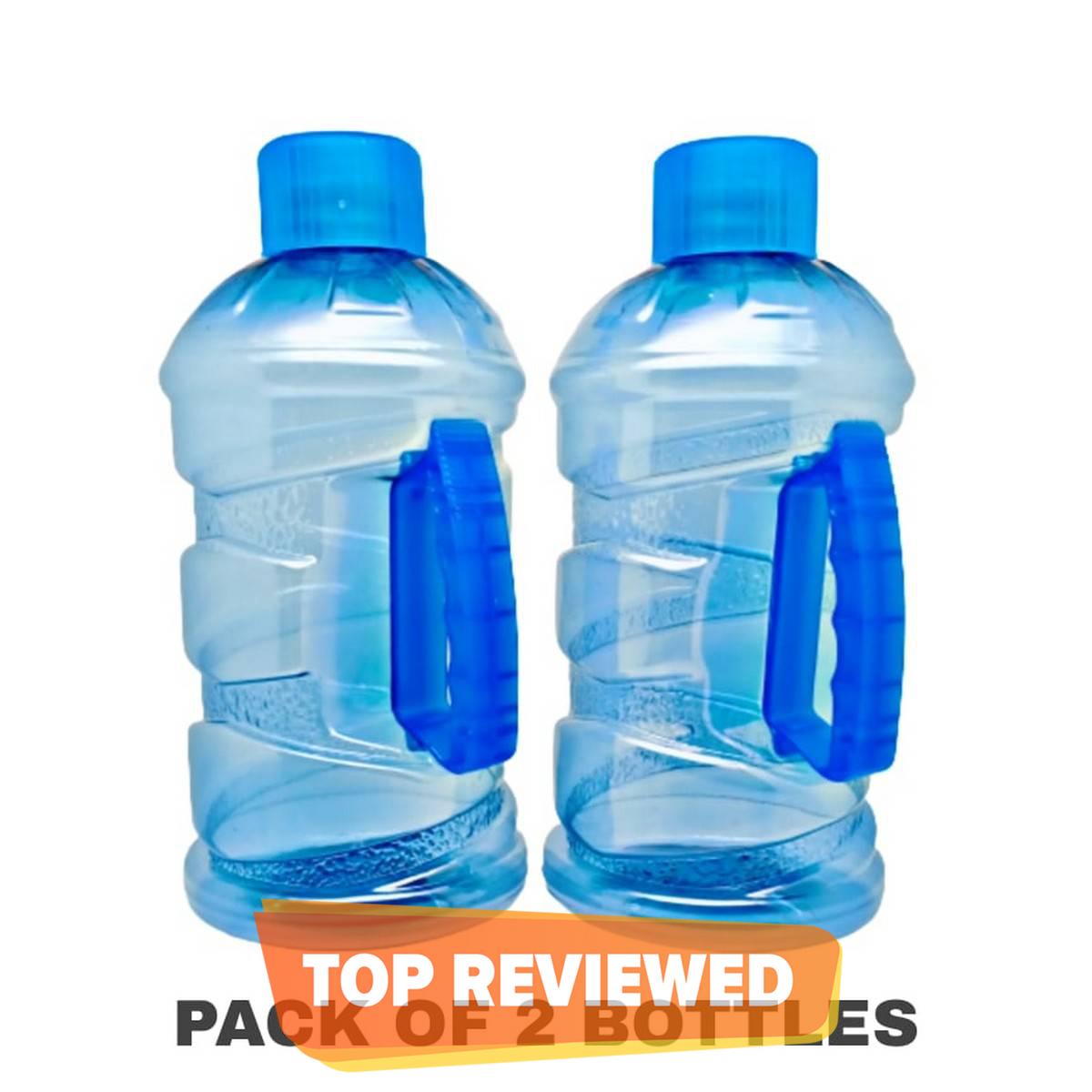 Pack of 2 Plastic Jumbo Super Cool Water Drink Bottles 2000ML - Fridge and Refrigerator water bottles