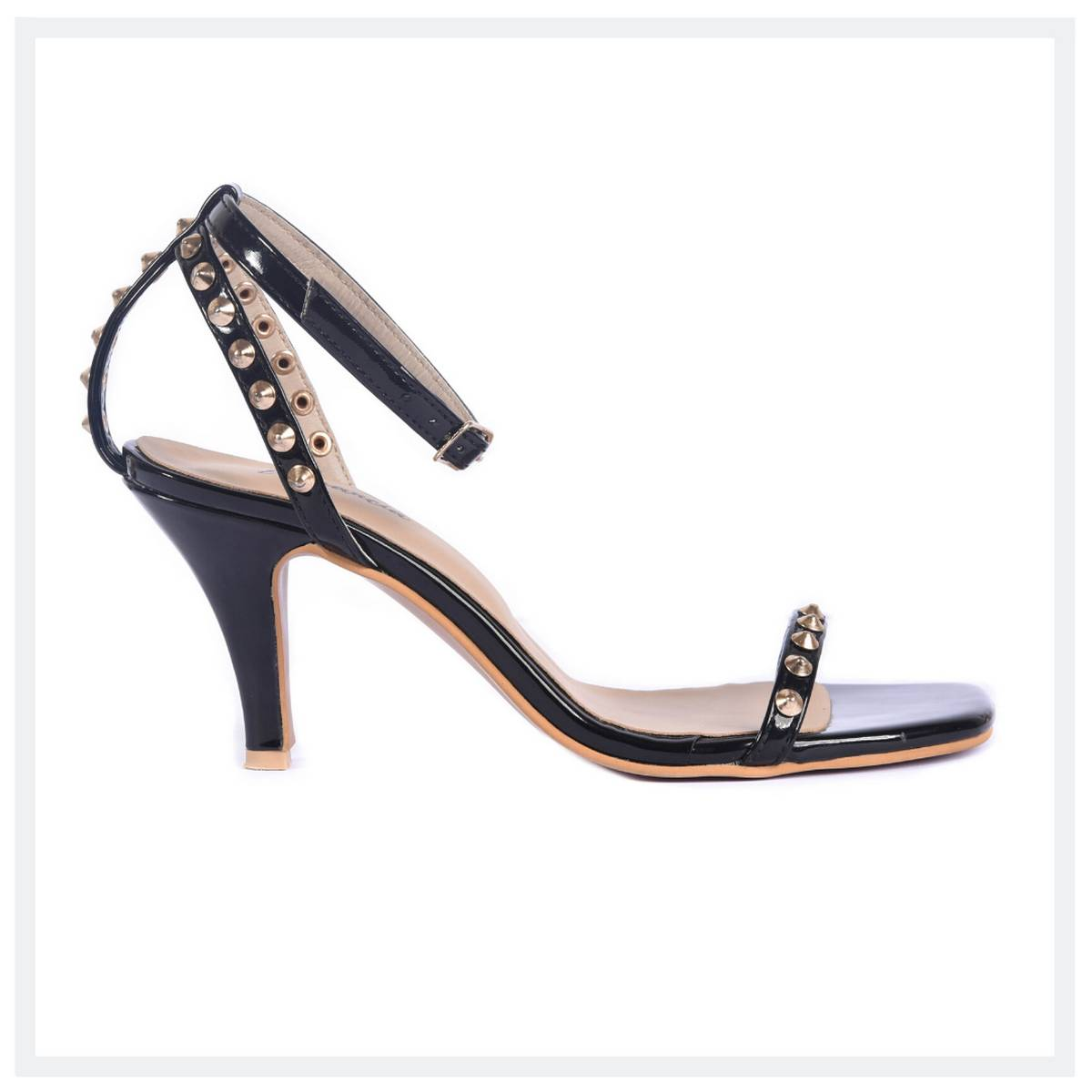 SANTORINI  Women's High Heel Sandals  Black  Elegancia