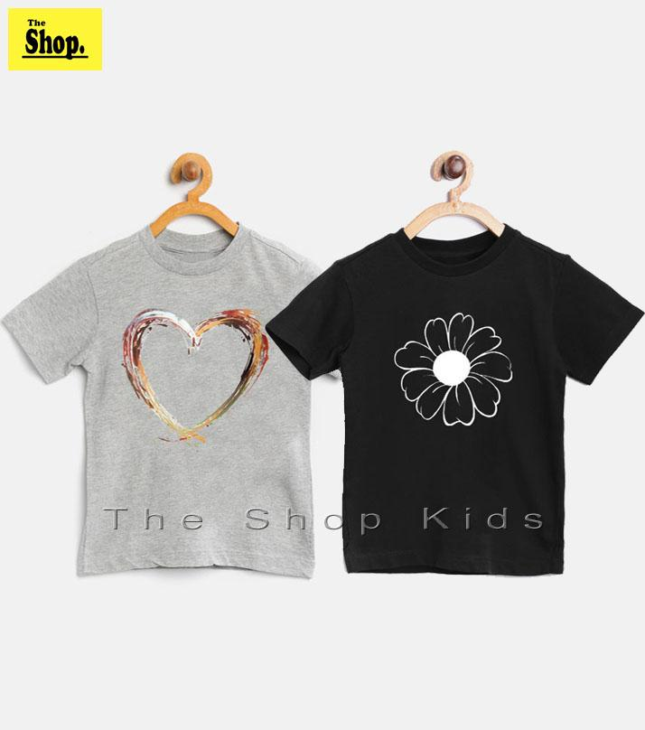 The Shop - Pack Of 2 - Heart & Flower T-shirt For Girls - Gb-hf1