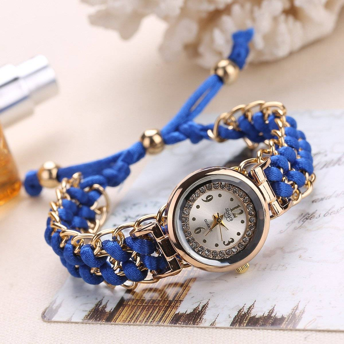 Blue Luxury Stylish Girls Analog Handmade Braided Bracelet Watch Thread Knitted Weaved Strap Women Dress Casual Watches Relogio Feminino Female Ladies Wrist Watch Best For Personal Use Or Gift Birthday Party