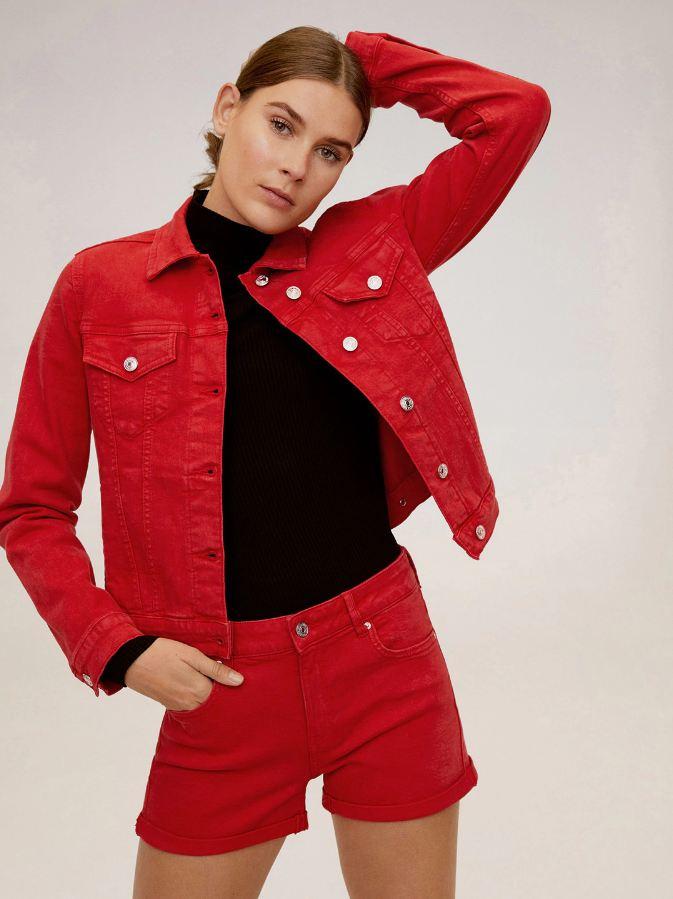 Ace Women Red Solid Denim Jacket