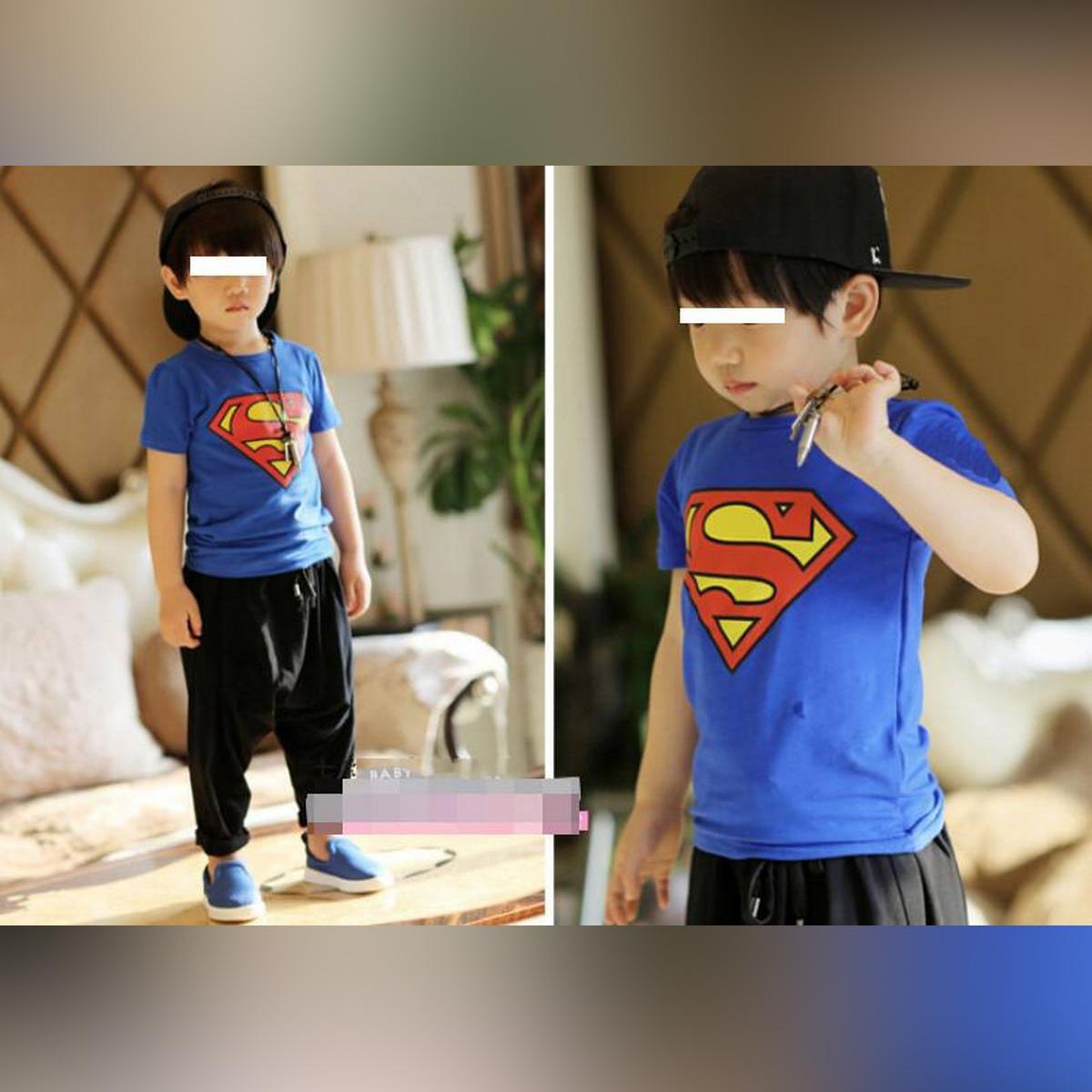 Blue Superman Printed Half Sleeves Tshirt For Kids